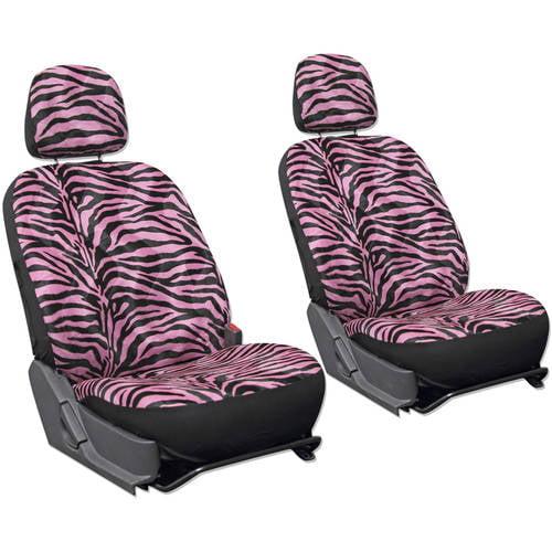 Oxgord Zebra/Tiger Stripe Velour Bucket Seat Cover Set for Car/Truck/Van/SUV