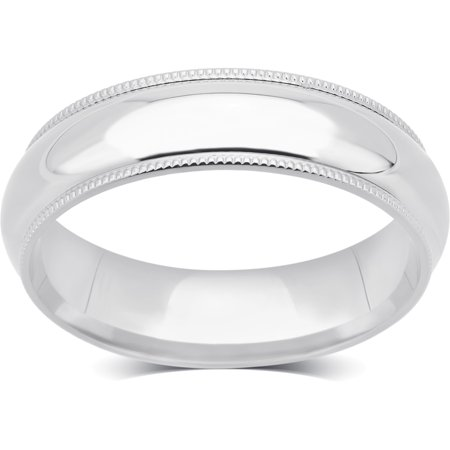14K Plain White Gold 5-mm Unisex Milgrain Wedding Band.