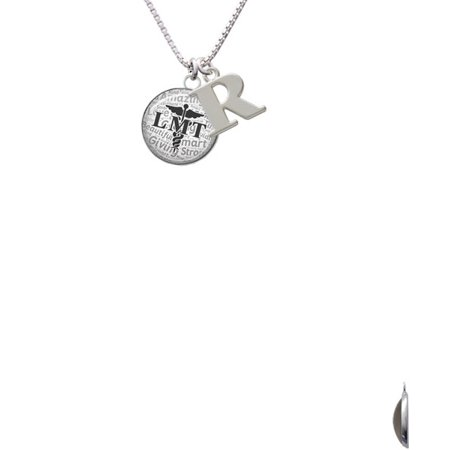 Silvertone Domed Black Lmt Capital Initial R Necklace