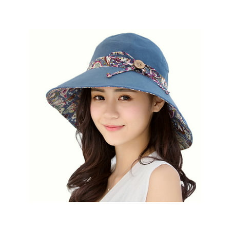 Women Summer Casual Big Wide Brim Cotton Hat Floppy Derby Beach Sun Foldable - Yellow Derby Hat
