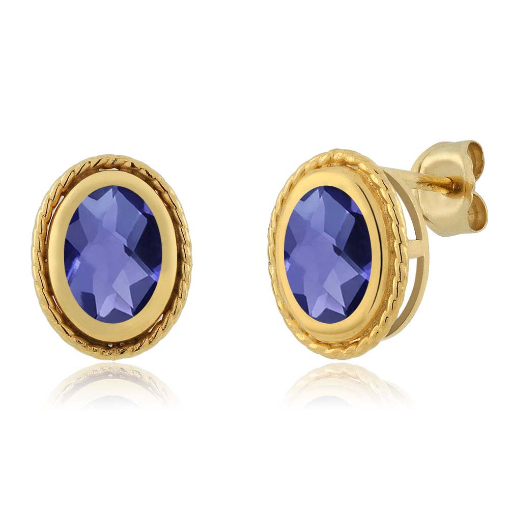 1.30 Ct Oval Checkerboard Shape Blue Iolite Gold Plated Silver Stud Earrings