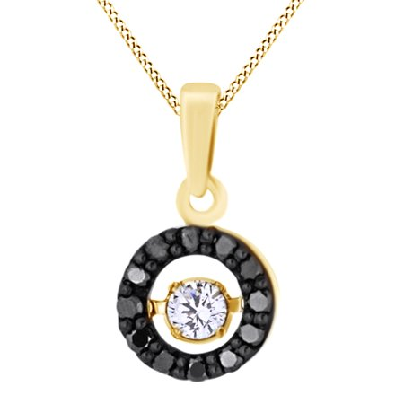 6ecf29ec2a139 Dancing Round Cut White & Black Natural Diamond Halo Pendant Necklace In  10K Solid Yellow Gold (0.33 Ct)By Jewel Zone US