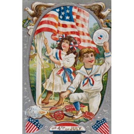 Fourth of July color lithograph Nostalgia Cards Canvas Art -  (18 x 24)