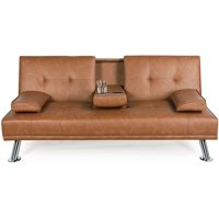 LuxuryGoods Modern Faux Leather Futon with Cup Holders, Brown