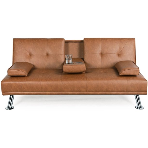Luxurygoods Modern Faux Leather, Brown Fabric Leather Sofa Bed