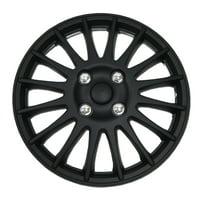 "Set of 4  Matte Black Hubcaps 15"" WSC-611B15 - Hub Caps Wheel Skin Cover 15 Inches 4 Pcs Set"