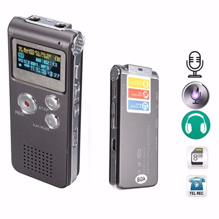 M.way Professional  8GB Digital Voice Activated 650Hr Audio Sound Voice Telephone Recorder Dictaphone MP3 Player 3D Sound Meeting with Earphone