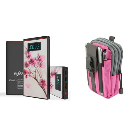 INFUZE Slim Pocket 12000mAh Portable Charger Dual (USB-A, USB-C) 18W QC 3.0 Power Bank (Cherry Blossom), Tactical Organizer Pouch (Pink/Gray) for Samsung Galaxy J7 (J7 V 2nd Gen, Star, Crown) ()