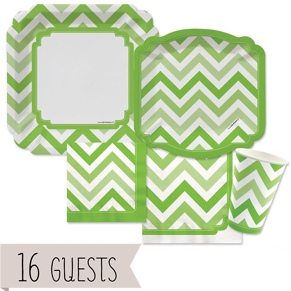 Chevron Green - Party Tableware Plates, Cups, Napkins - Bundle for 16