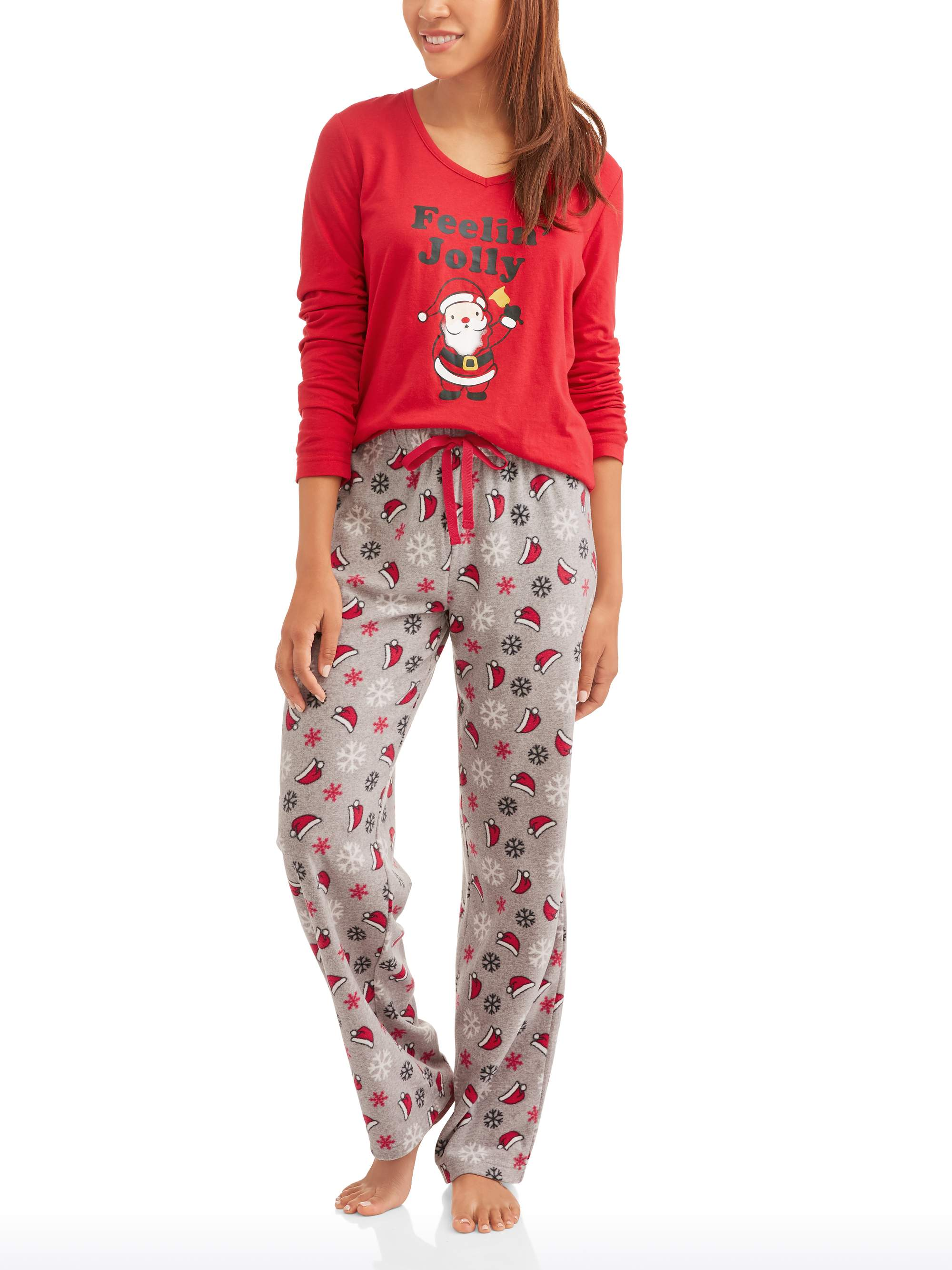 Jv Apparel - Women's Holiday Family Pajamas Santa 2 P ...