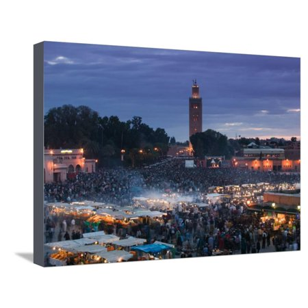 Marrakech Square (Koutoubia Mosque, Djemma El-Fna Square, Marrakech, Morocco Stretched Canvas Print Wall Art By Walter Bibikow )