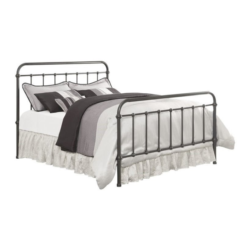 Bowery Hill Queen Metal Bed in Black