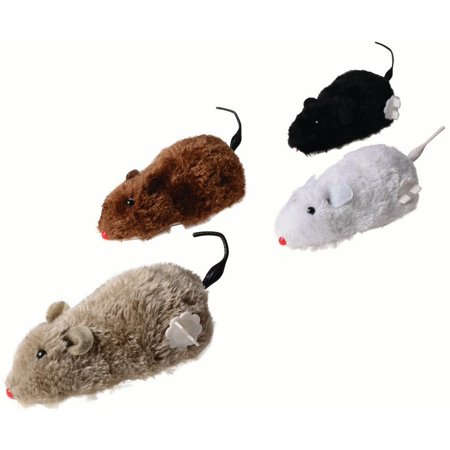 Wind Up Rat Racer Fake Toy 4 Pcs Set Realistic Plush With Twirling