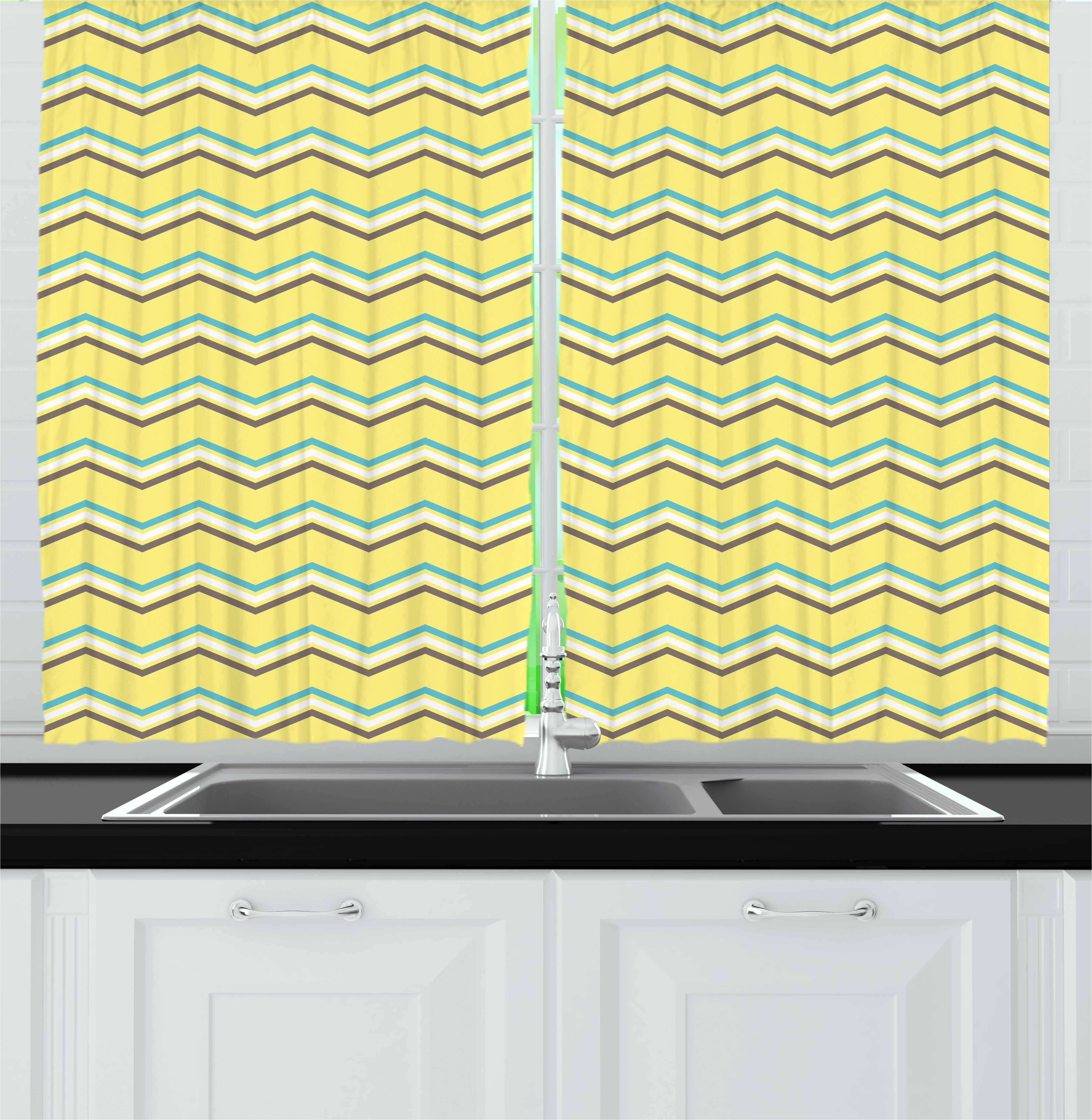 Yellow Chevron Curtains 2 Panels Set, Zigzag Lines in Horizontal Direction Retro Style Display, Window Drapes for Living Room Bedroom, 55W X 39L Inches, Yellow Sky Blue Charcoal Grey, by Ambesonne
