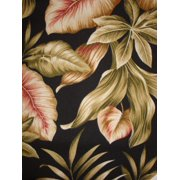 Antigua Arm Chair in Royal Oak-Fabric:Leaves on Black