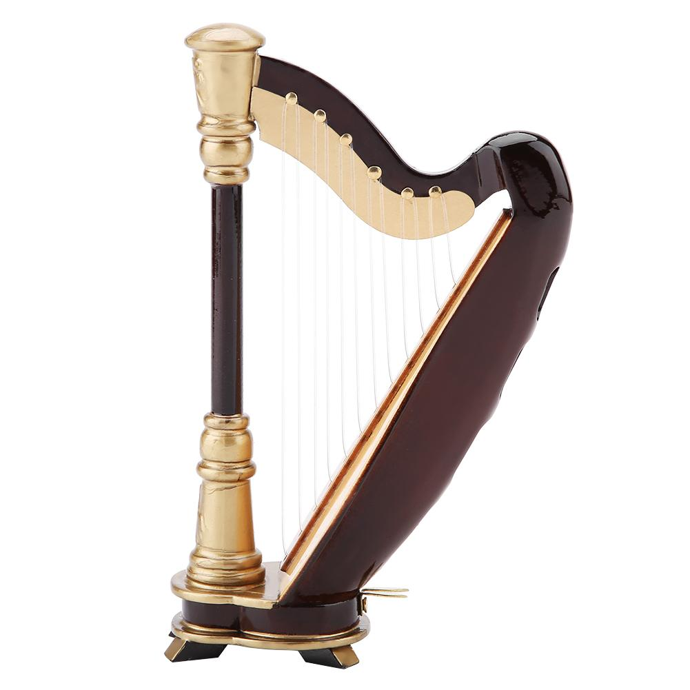 Wooden Miniature Harp Replica with Gift Case Instrument Model Musical Gifts