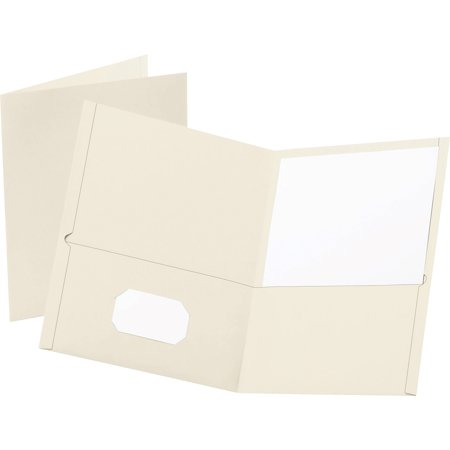 Oxford, OXF57504, Twin Pocket Letter-size Folders, 25 / Box, White 2 Tone Pocket Folders