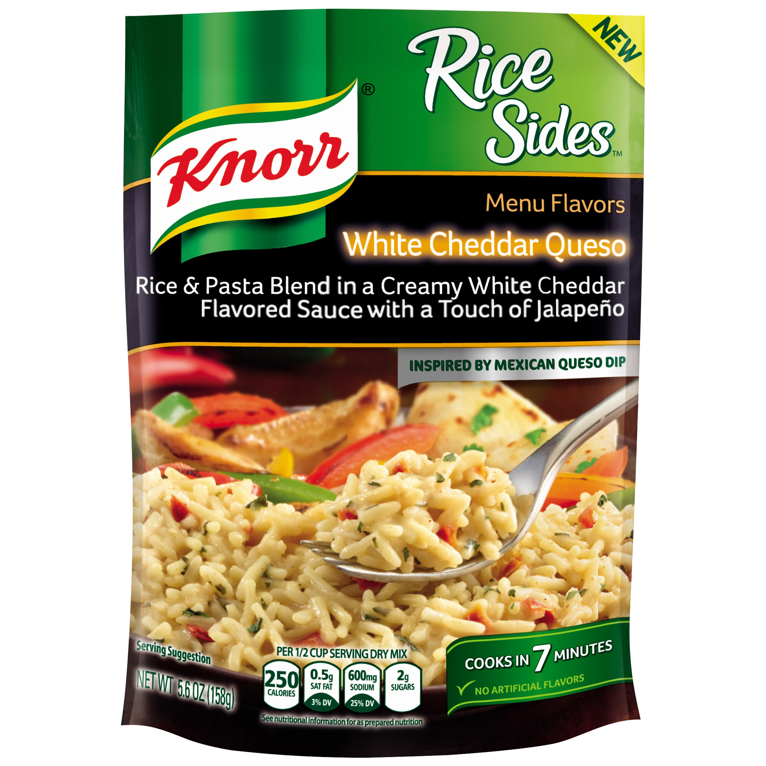 Knorr Menu Flavors White Cheddar Queso Rice Sides, 5.6 Oz by Unilever