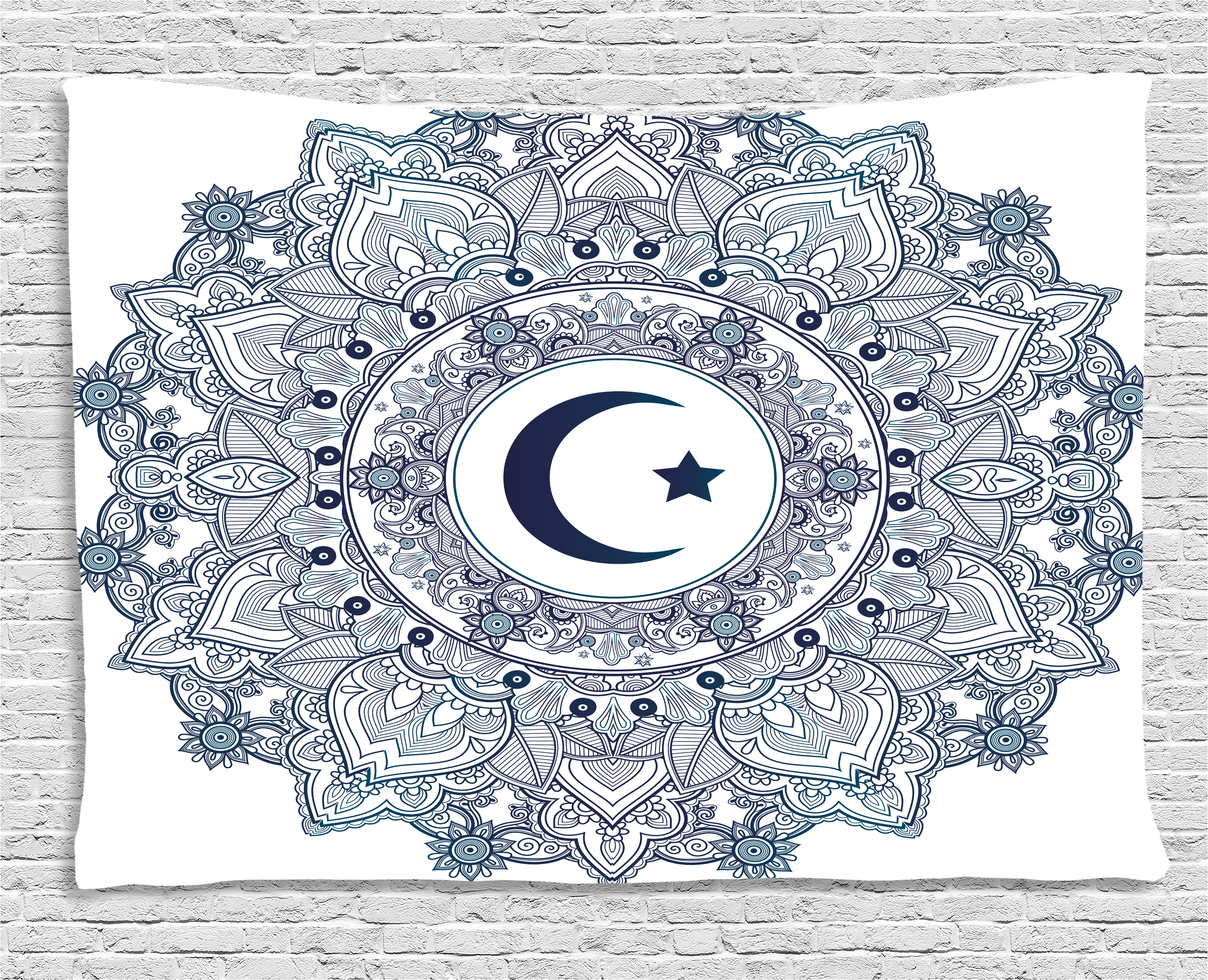 Moon Tapestry, Islamic Symbol in Eastern Design Ramadan Celebrations Vintage... by Kozmos