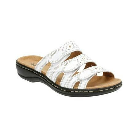 Womens Leisa Cacti Triple Strap Slide Sandals, White Leather