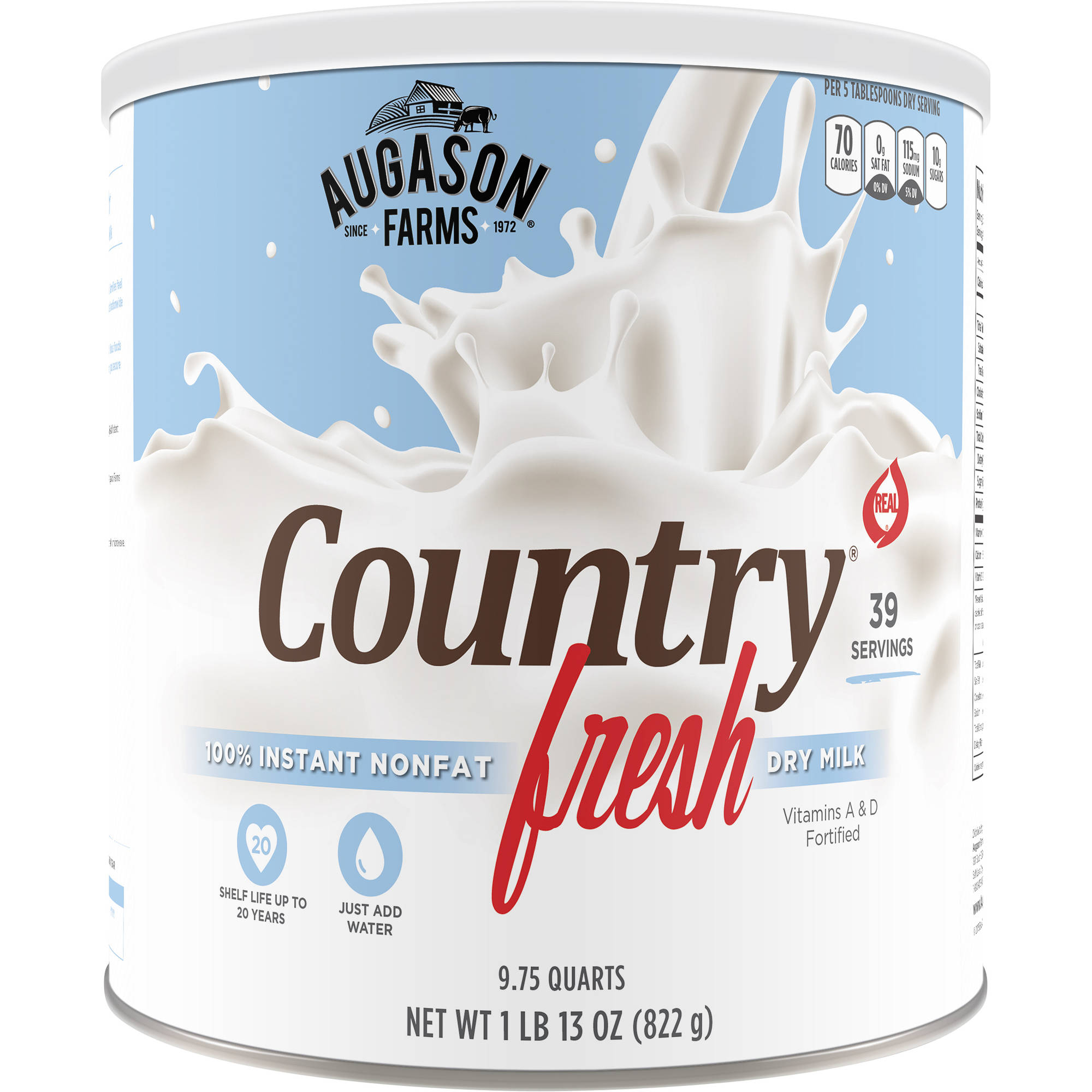 Augason Farms Emergency Food Country Fresh 100% Instant Nonfat Dry Milk, 29 oz