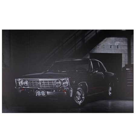Car Canvas Art (LED Lighted Black Chevelle SS Classic Car Canvas Wall Art 15.75
