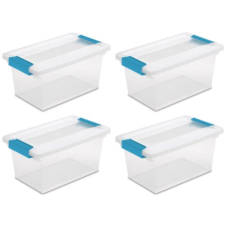 4 Pack) Sterilite 19628604 Medium Clip Box Clear Storage Tote Container with Lid - Art Boxes