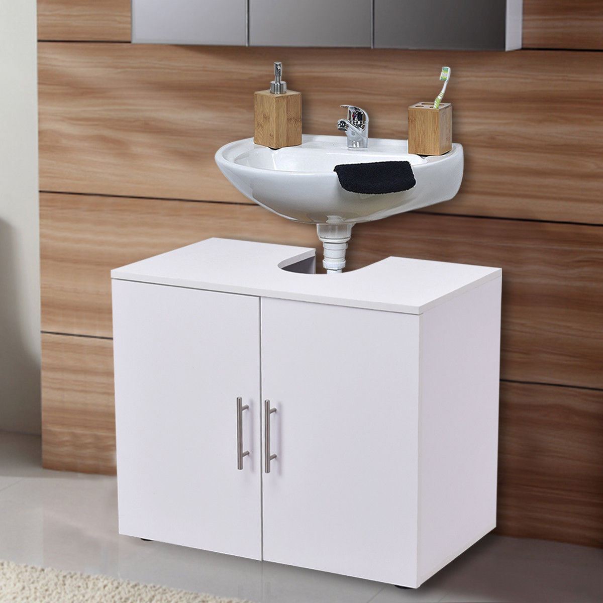 Costway Non Pedestal Under Sink Bathroom Storage Vanity Cabinet Space Saver Organizer