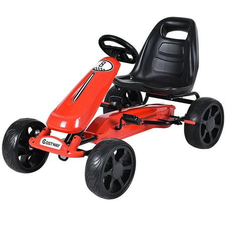 costway xmas gift go kart kids ride on car pedal powered car 4 wheel