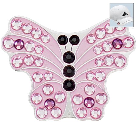 Bella Crystal Golf Ball Marker   Hat Clip   Pink Butterfly