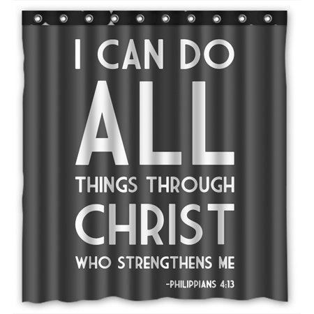 ZKGK I Can Do All Things Through Christ Who Strengthens Me Waterproof Shower Curtain Bathroom Shower Curtian with Hooks 66x72 Inches