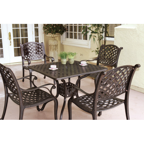 Fleur De Lis Living Lincolnville 5 Piece Square Dining Set with Cushions