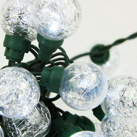 Northlight 25ct Wide Angle in G30 Globe LED Outdoor String Lights Clear Tinsel - 16' Green Wire](Bulk Tinsel)