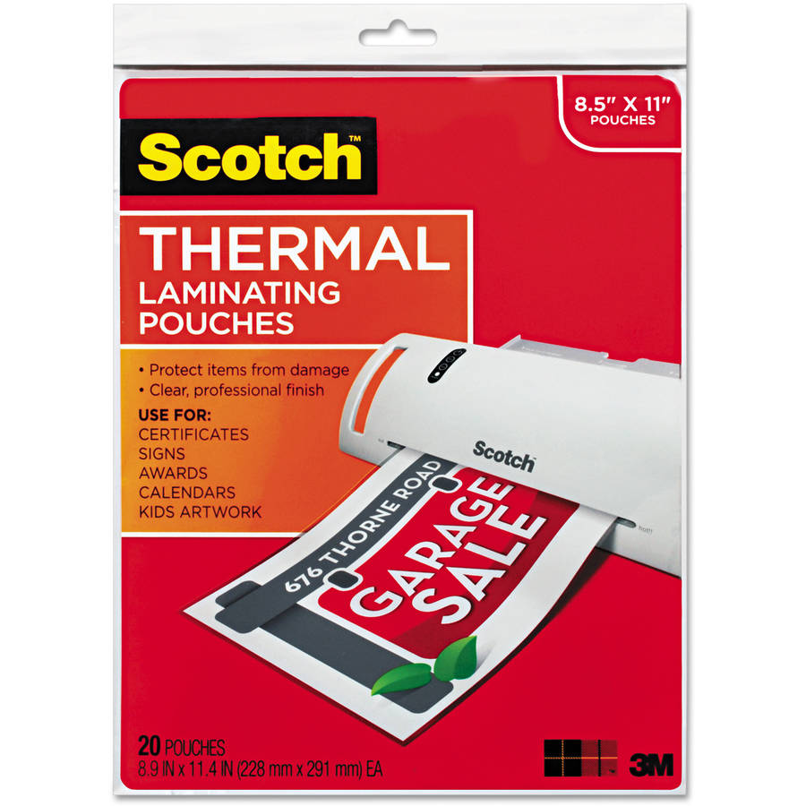 "Scotch Letter-Size Thermal Laminating Pouches, 3mm, 11.5"" x 9"", 20-Pack"