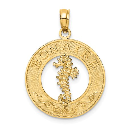 Roy Rose Jewelry 14K Yellow Gold BONAIRE On Round Frame With SeaHorse Charm Pendant (Yellow Gold Seahorse Charm)