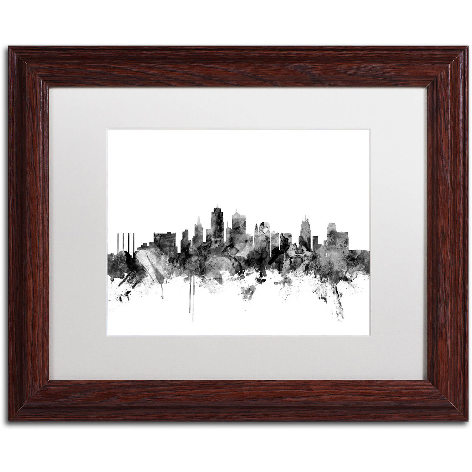 "Trademark Fine Art ""Kansas City Skyline B&W"" Canvas Art by Michael Tompsett, White Matte, Wood Frame"