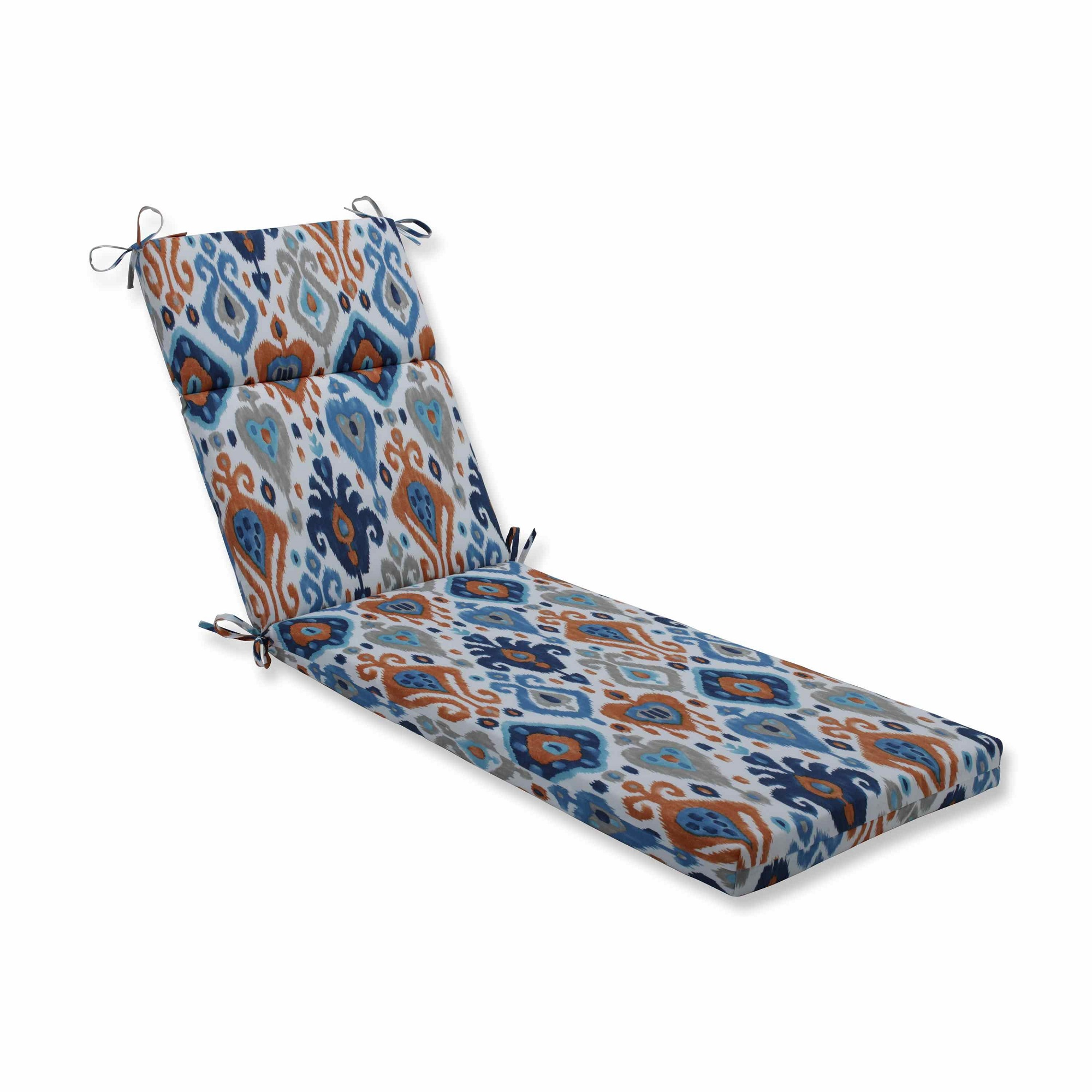 Vibrantly Colored Ikat Pattern Outdoor Patio Chaise Lounge Cushion 72.5