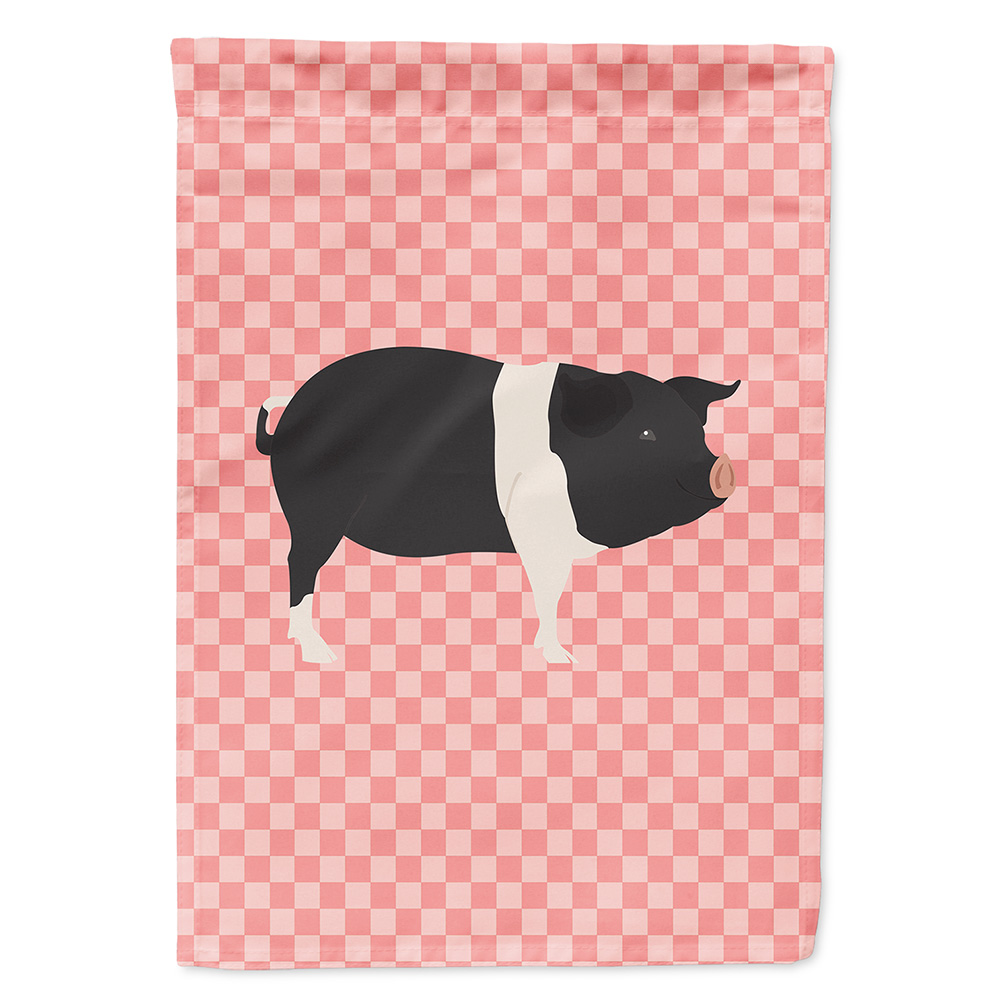 638508956323 UPC Hampshire Pig Pink Check Garden Flag