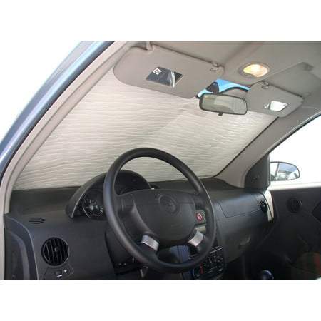 The Original Auto Sunshade, Custom-Fit for Chevrolet Aveo Hatchback (5D) 2004, 2005, 2006, Silver Series