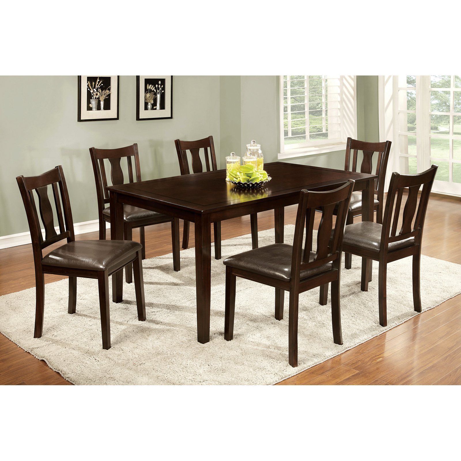 Furniture of America Chargon 7 Piece Dining Set - Espresso