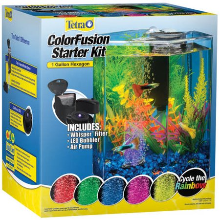 Tetra hexagon aquarium kit with led bubbler 1 gallon for Fish tank kits walmart