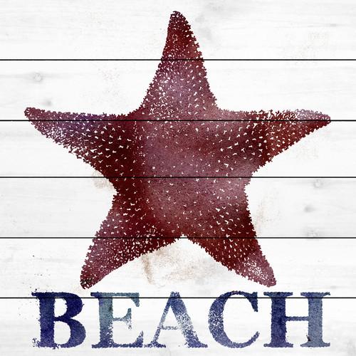 Marmont Hill 'Starfish Beach' Painting Print on White Wood