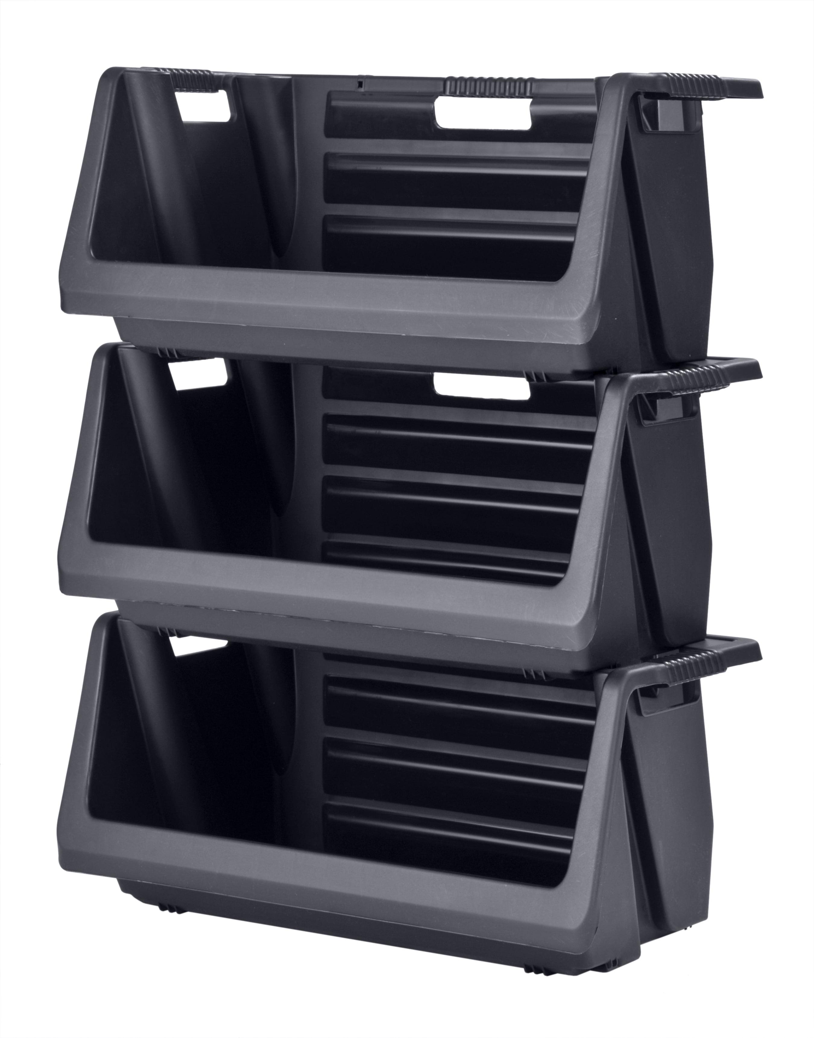 Muscle Rack Stackable Storage Bin in Black (3-Pack) by Muscle Rack