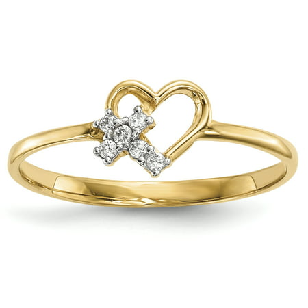 14k Yellow Gold Heart Cubic Zirconia Cz Cross Religious Band Ring Size 7.00 S/love