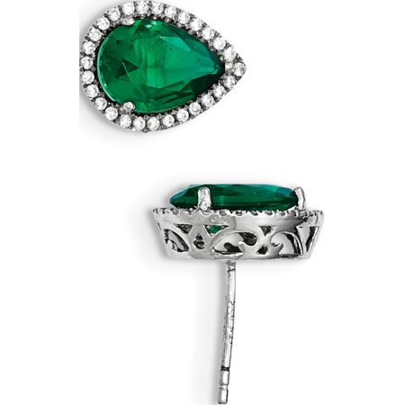 925 Sterling Silver Rhodium Simulated Emerald & CZ Post (11x14mm) Earrings - image 2 de 2