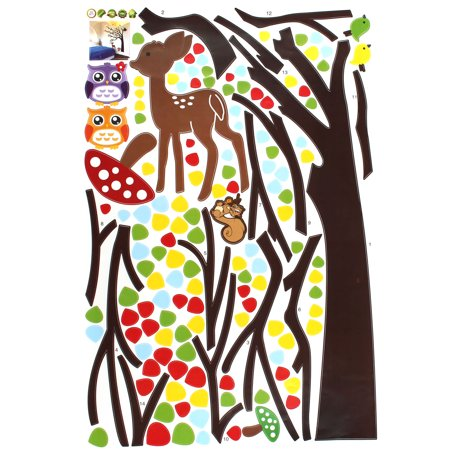 D cor chambre coucher animaux p pini re arbre adh sif for Autocollant mural walmart