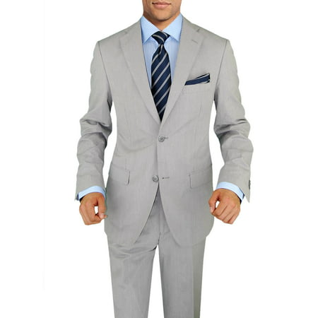 Mens Gray Suit Coat - DTI BB Signature Italian Two Button Men's Suit Trim Fit Side Vent Jacket Stripe Silver Gray