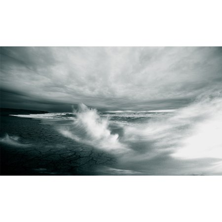 Laminated Poster Body Of Water On Dried Land Under White Clouds Wallpaper Poster Print 24 x 36 Cloud White Body