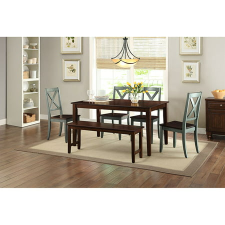 Better Homes and Gardens Bankston Mocha 6 Piece Dining Set with 4 Maddox Blue Chairs and Dining Bench
