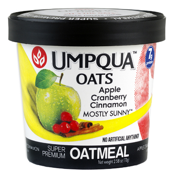 Umpqua Oats Mostly Sunny Oatmeal 2.58 oz Cups - 12 Count